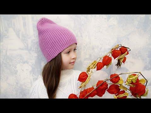 Шапочка с шарфиком для девочки крючком