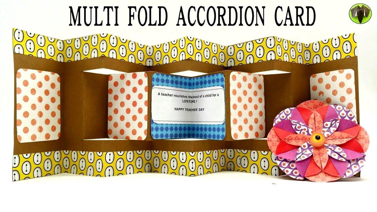multi fold accordion card for teacher s day diy handmade
