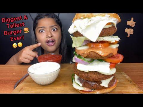 BIGGEST AND TALLEST BURGER 🍔 EVER! BURGER EATING CHALLENGE | BIG BITES | FOOD CHALLENGE VIDEOS