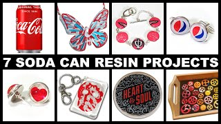 7 Epoxy Resin Projects using Aluminium Soda Pop Drinks Cans | Cufflinks | Pendant | Earrings +More!