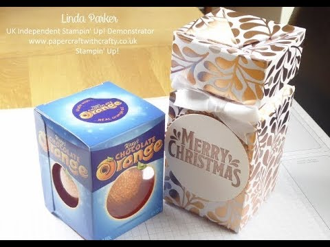 Decanter Style Self-Closing Box for a Terry's Chocolate Orange - Stampin' Up! Year of Cheer DSP