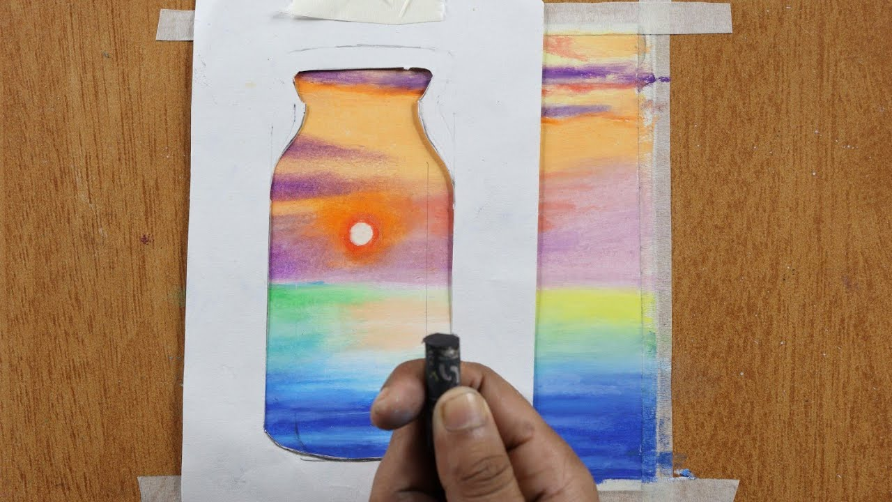 Realistic Sunset Scenery Blur Effect Drawing Easy Oil Pastel Drawing For Beginners