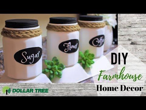 DIY Dollar Tree Farmhouse Decor | Kitchen Containers | Organization Ideas