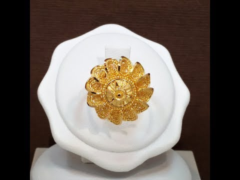 """GoldShine - Treasure For Generations"" 22K Solid Gold Ring Flower Design"