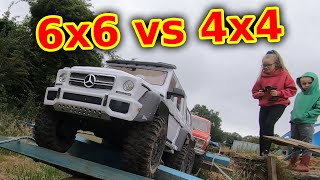 6x6 vs 4x4 on Worlds BiGGEST RC Crawler Course