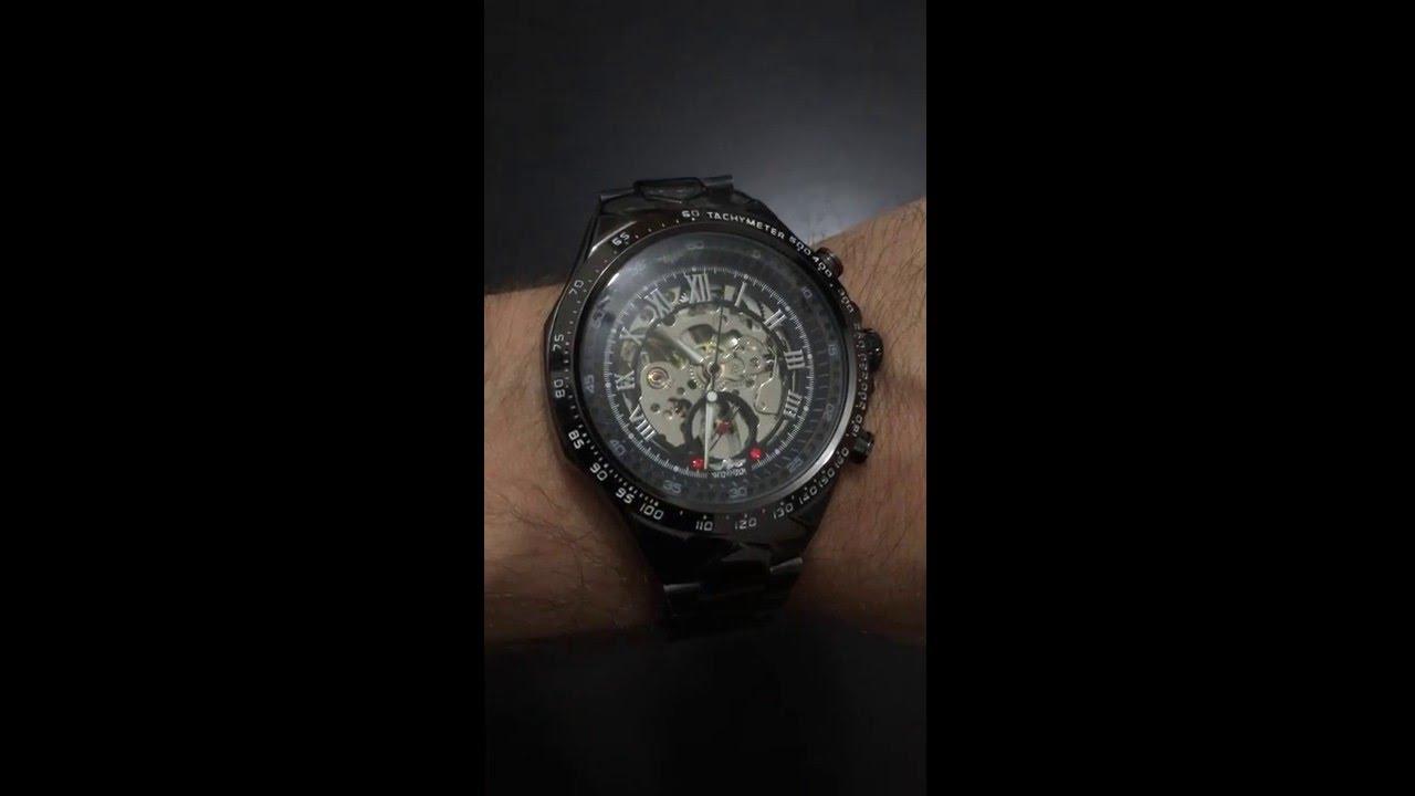 4e125534eaa Relógio Preto Winner Skelecton Automático Importado Barato - YouTube