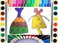 Coloring page of Beautiful Dresses for girls LEARN drawing paint with color sketch art  for children