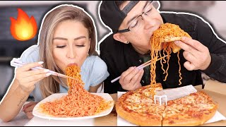 Spicy Fire Noodles & Pizza Mukbang | YesHipolito