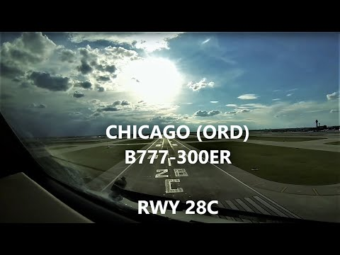 Cockpit View B777 Chicago Landing