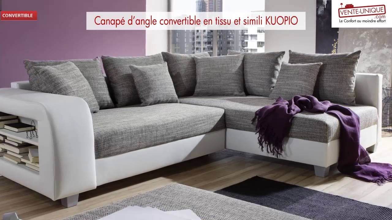 Canap d 39 angle convertible en tissu et simili kuopio youtube - But canape d angle ...