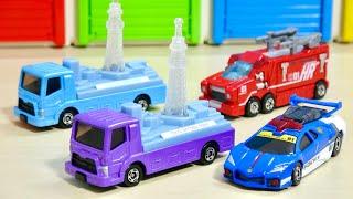 ピカピカ光るトミカ! 手転がしで発電!電池を使わないで遊べる テコロジーシリーズ はたらくくるま パトカー消防車 東京スカイツリー運搬トラック