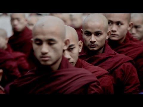 Buddhist monks eating at Mahar Gandar Yone Monastery - Amarapura, Myanmar