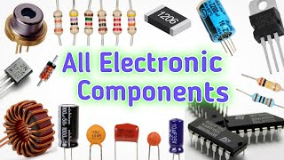 All electronic components  names and symbols.