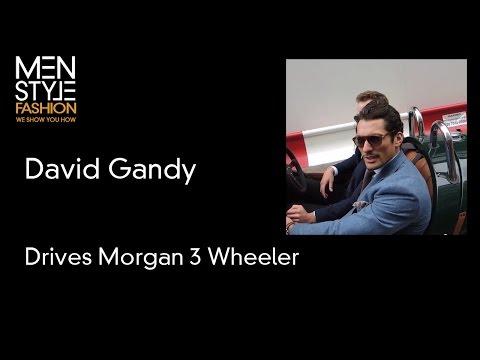 David Gandy in Morgan 3 Wheeler at London Collections Men