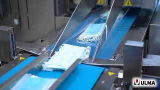 Medical face masks packaging in FM 205 flow pack wrapper