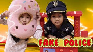 Pretend Play FAKE POLICE To Get Free Toys