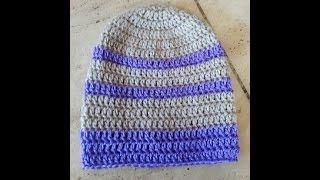 Crochet Super Easy Beginner Adult Beanie Hat Diy Tutorial