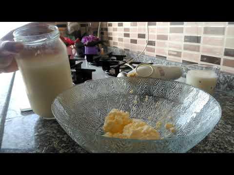 Yoğurt kaymağından tereyağı yapılışı