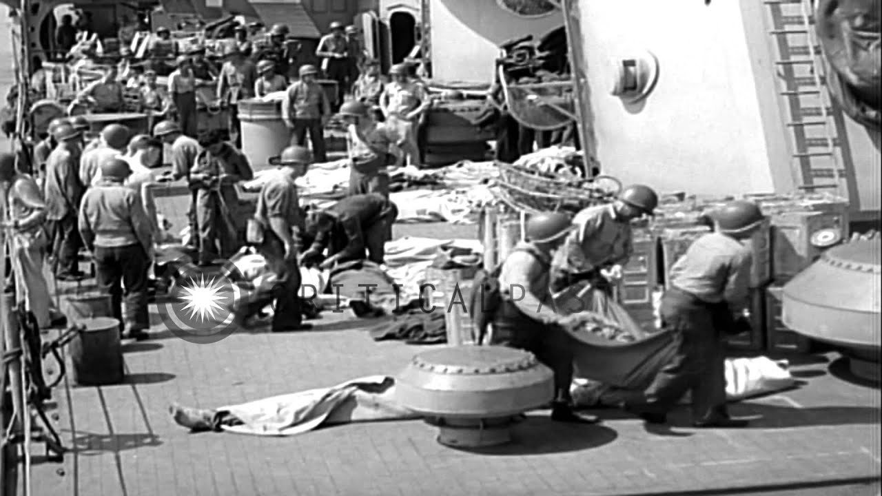 Wounded and dead US sailors removed from gun turret of the USS Savannah  (CL-42) w...HD Stock Footage - YouTube