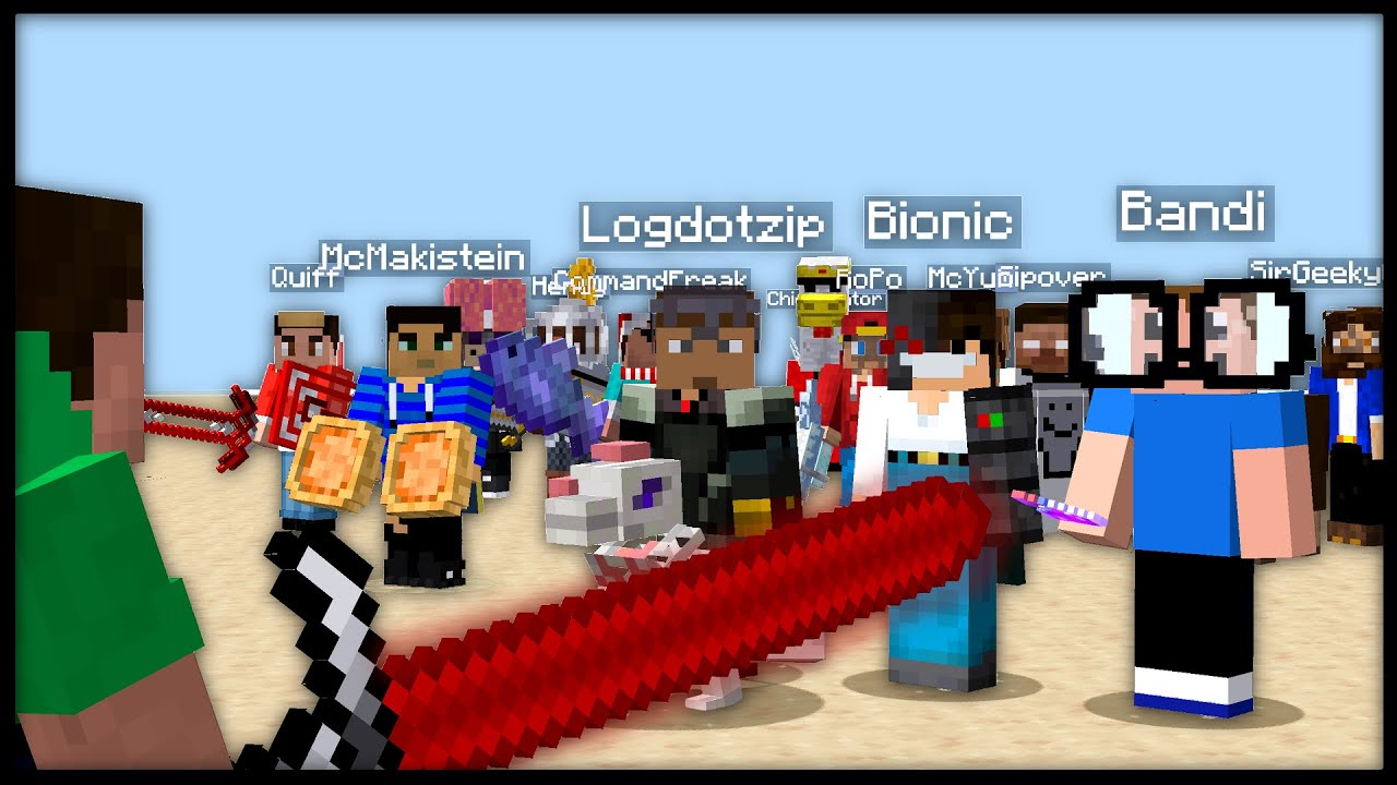 I made 15 MINECRAFT YOUTUBERS fight each other with custom OP WEAPONS... [Datapack]