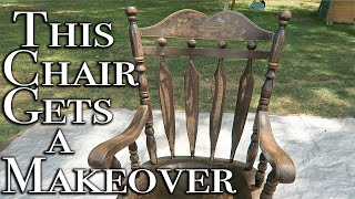 How to Use Gel Stain to Update Furniture ~ Rocking Chair Makeover with Cricut Image Transfer