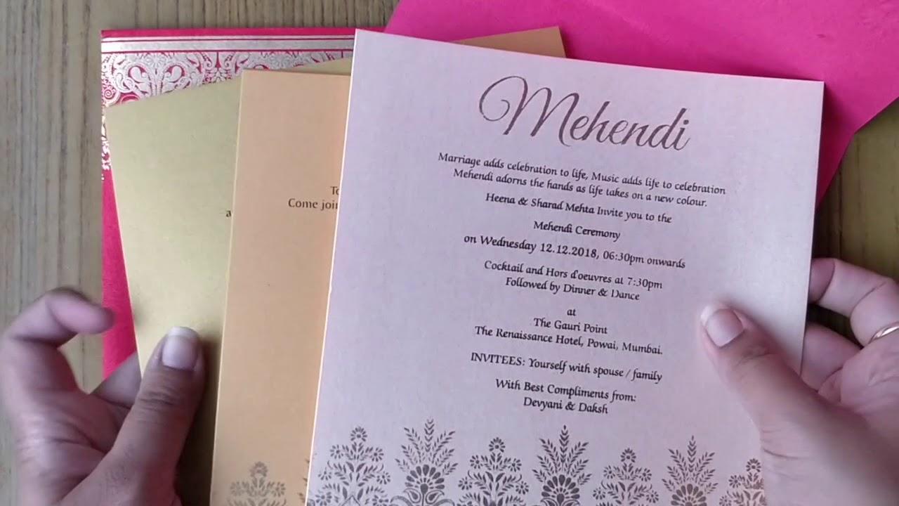 JIM/3162: Designer wedding invitation card in vibrant red colour - YouTube