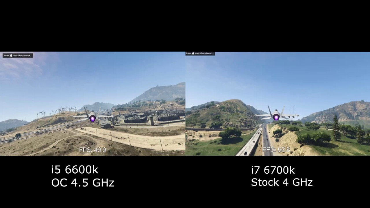 GTA V   i5 6600k vs i7 6700k Benchmark Test - YouTube