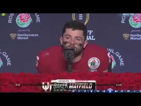 Baker Mayfield Crying in Post Game Press Conference After Final Game with Oklahoma Rose Bowl 2018