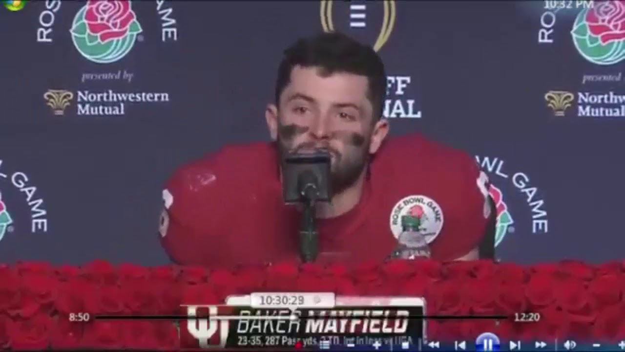 Baker Mayfield Crying In Post Game Press Conference After