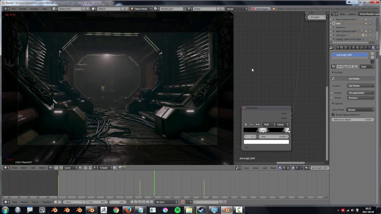 blender 2 8 eevee viewport - sci fi corridor demo