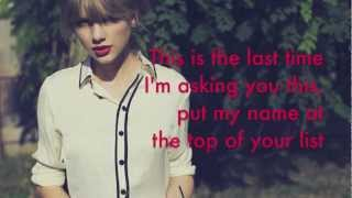 The Last Time - Taylor Swift Feat. Gary Lightbody (Lyrics HD)