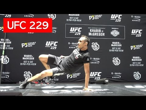 TONY FERGUSON BREAKDANCES DURING UFC 229 OPEN WORKOUT