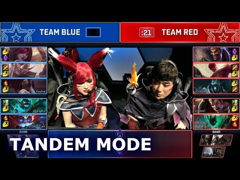 PRO Tandem Mode Mixed Team Show Match (ft. Sneaky & Bang Xayah Cosplay) | 2018 LoL All Star Event