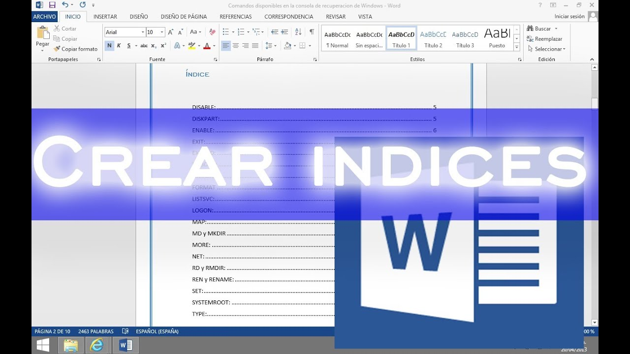Paso a Paso Word 2018 - Crear indices automaticamente con Word 2018 ...