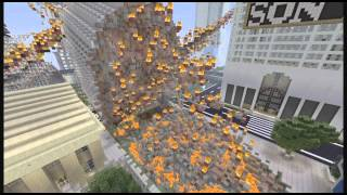 NEW YORK 10 , EDIFICIO DESTRUYENDOSE POR METEORITO MINECRAFT