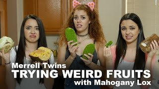 TRYING WEIRD FRUITS - Merrell Twins feat. Mahogany Lox!!!!