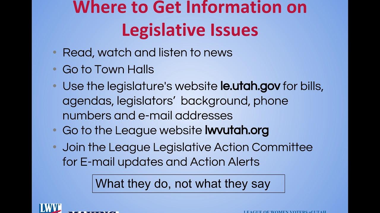 Legislative Action Alert Bill To >> Legislative Action Committee League Of Women Voters Of Utah