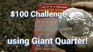 $100 Scratchers Challenge - Seeking Redemption with Giant Quarter! | Scratcher Heaven