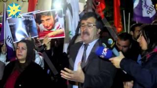 بالفيديو:وقفة إحتجاجية لحزب الشعوب الديموقراطي الكردي بالعاصمة للتنديد بقطع الإتصالات والإنترنت
