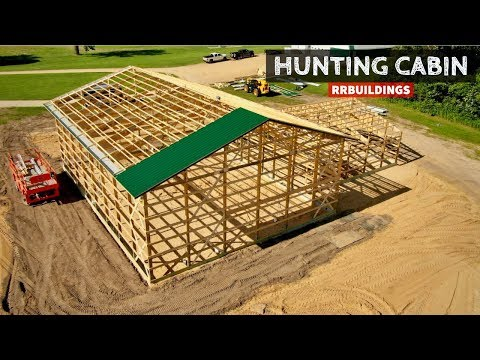 Building A Hunting Cabin 4:  Framing overhangs, Starting Roof Steel