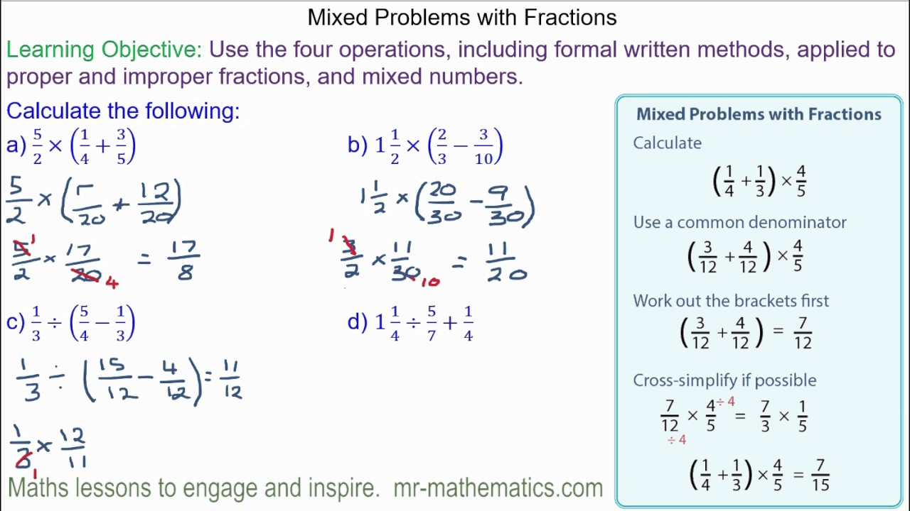 worksheet Mixed Problems With Fractions mixed problems with fractions youtube fractions