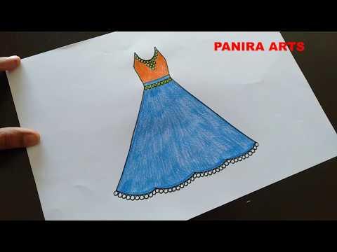 Barbi dress drawing || Princess dress drawing || How to Draw Barbie Dress