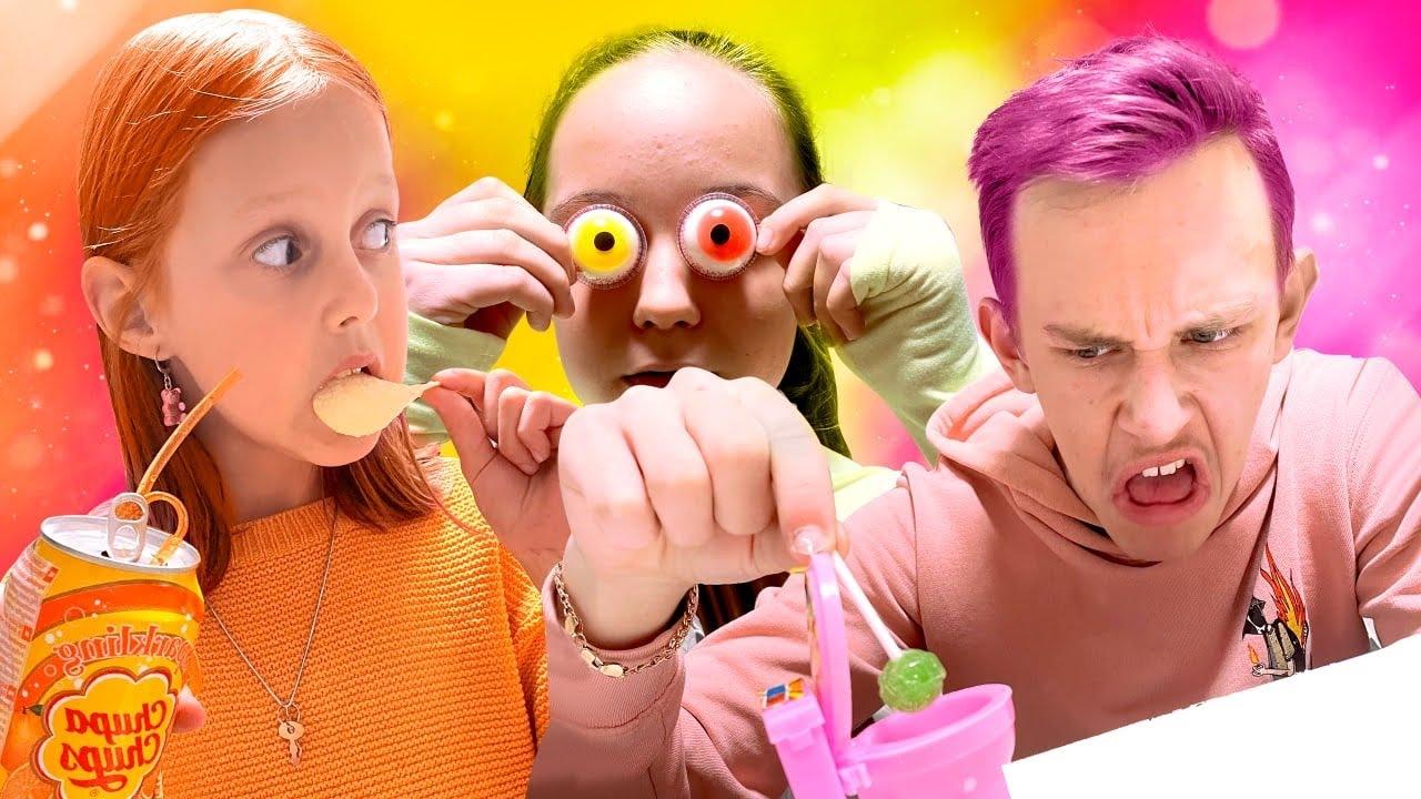 ЦВЕТНОЙ ЧЕЛЛЕНДЖ! Оранжевый, зелёный и розовый. Едим еду одного цвета! Часть 4