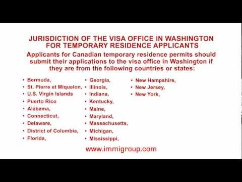 Jurisdiction of the visa office in Washington for temporary residence applicants