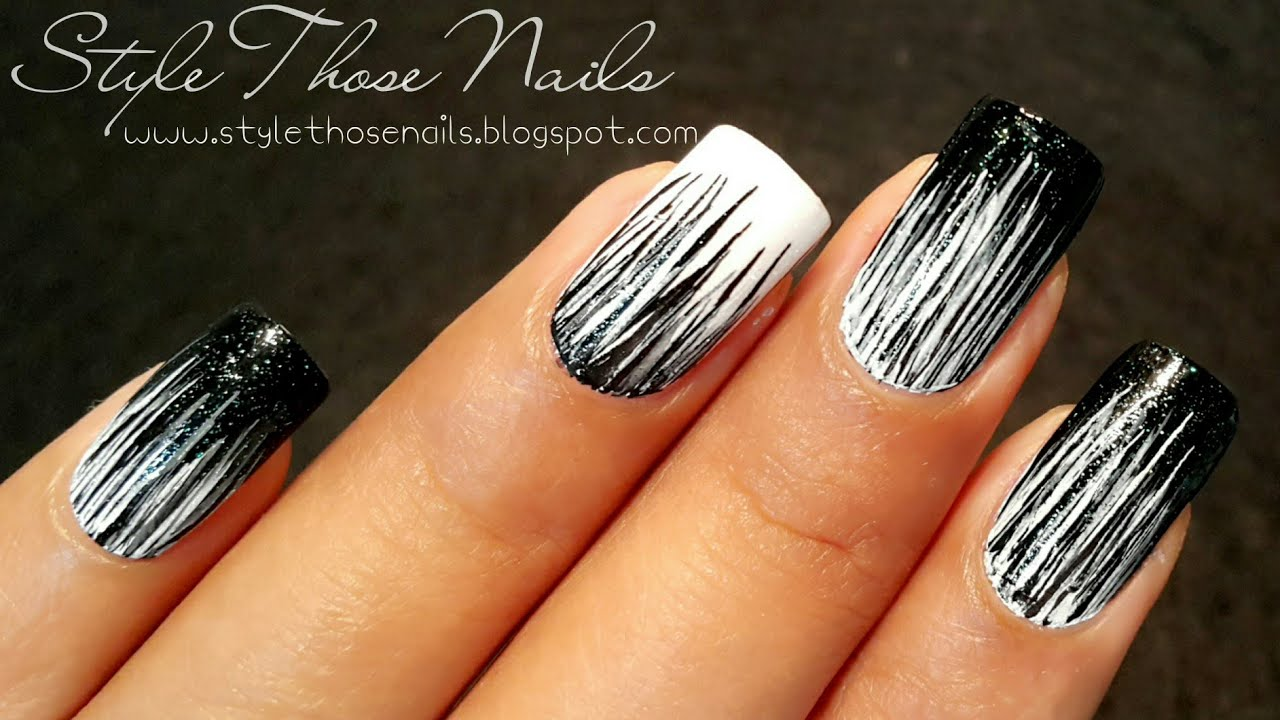 Black And White Waterfall Nailart Easy Diy Nails Youtube