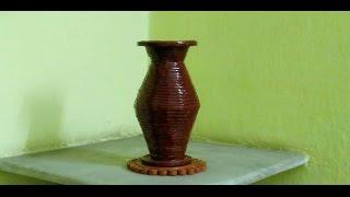 How to make a newspaper flower vase  ( UNIQUE )