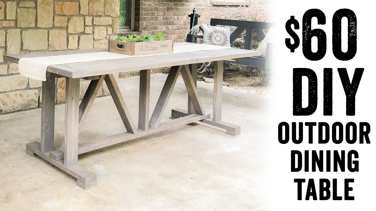 DIY  60 Outdoor Dining Table   YouTube DIY  60 Outdoor Dining Table