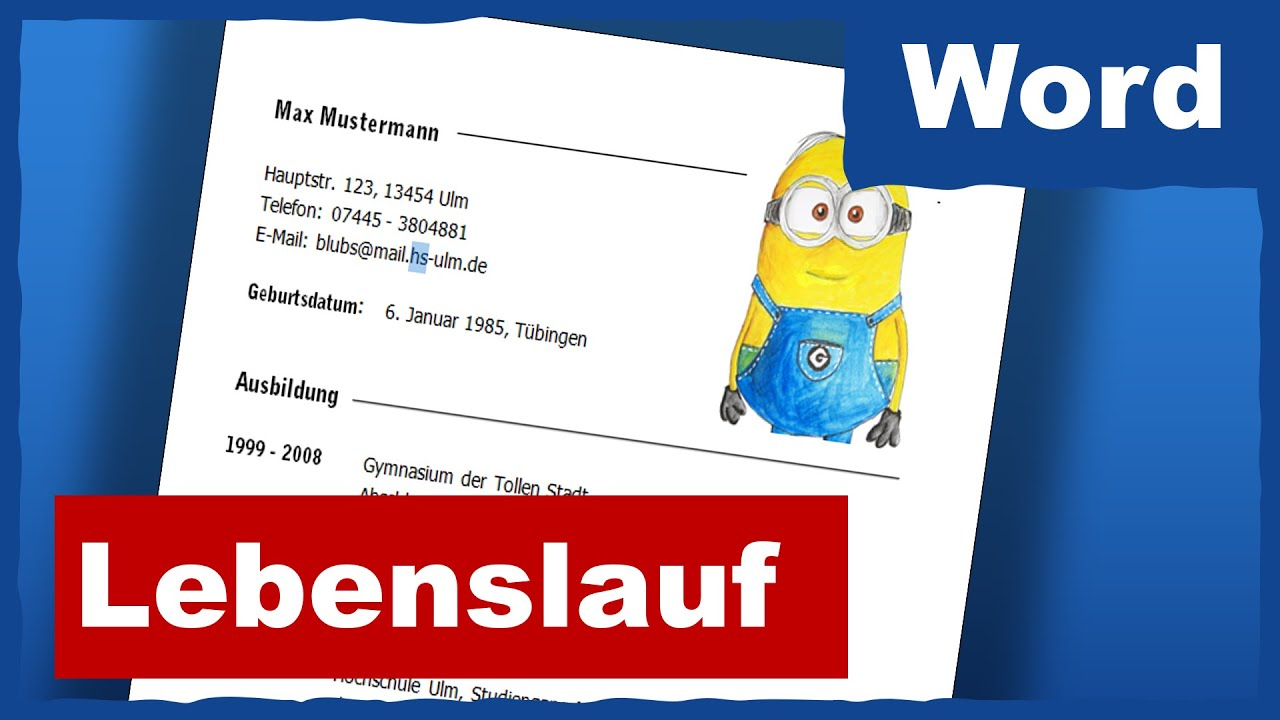 tabellarischer Lebenslauf in Word - YouTube