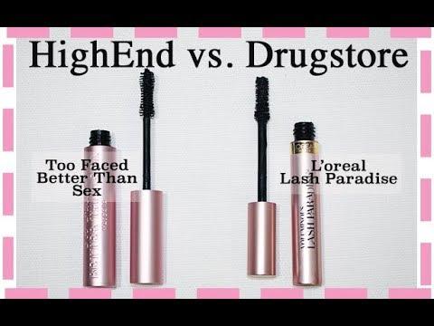 High End Vs Drugstore EP. 7 Too Faced Better Than Sex Vs L'oreal Voluminous Lash Paradise Mascaras