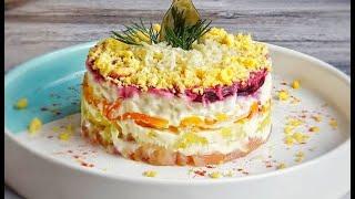 Салат с красной рыбой, свеклой, картошкой, морковкой и яйцом рецепт #Shorts